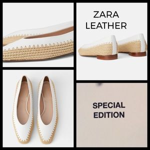 Zara white leather flats with jute detail - size 8